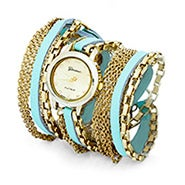 Multi Chain Mint and Gold Wrap Watch