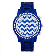 Chevron Metallic Blue CZ Fashion Watch