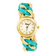 Curb Link Blue and Gold Fashion Watch