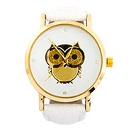 Golden Owl CZ White Leather Fashion Watch