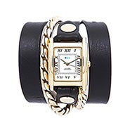 La Mer Cable Chain Black and Gold Leather Wrap Watch