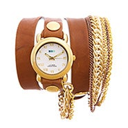 La Mer Arizona Tobacco Multichain Leather Wrap Watch
