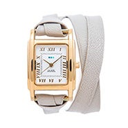 La Mer Milwood Double Strap Stone and Gold Leather Wrap Watch