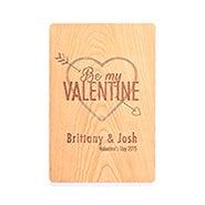 Engraved Be My Valentine Wood Postcard