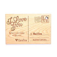 Personalized I Love You Wood Postcard