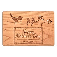 Carved Personalized Birds on a Branch Mother's Day Wood Postcard