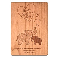 Personalized Carved Mom and Baby Elephant Mother's Day Wood Postcard