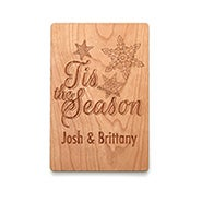 Tis the Season Personalized Wood Holiday Card