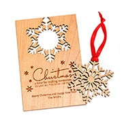 Personalized Wooden Christmas Card with Detachable Snowflake Ornament
