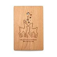 Personalized Loving Reindeer Wood Christmas Card