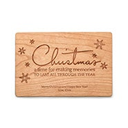 Decorative Snowflake Personalized Wood Christmas Card