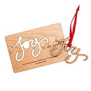 Joy to the World Custom Wood Christmas Card with Detachable Ornament