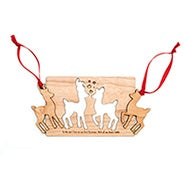 Personalized Couples Wood Christmas Card with Detachable Ornaments