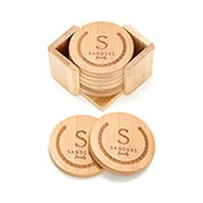 Family Name Engraved Bamboo Round Coaster Set