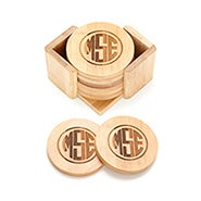 Block Style Monogram Engraved Bamboo Round Coaster Set