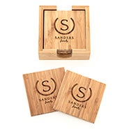 Family Name Engraved Bamboo Square Coaster Set