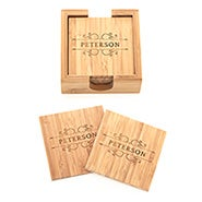 Family Name Vines Engraved Bamboo Square Coaster Set
