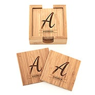 Single Initial Engraved Bamboo Coaster Set
