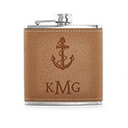 Nautical Anchor Monogrammed Brown Leather Flask