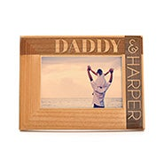 Personalized Daddy & Child Carved Wood Frame