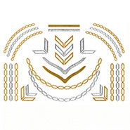 Chevron and Chain Link Design Gold and Silver Temporary Jewelry Tattoos