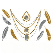 Feathers and Jewelry Design Gold and Silver Temporary Jewelry Tattoos