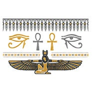 Egyptian Style Gold and Silver Temporary Jewelry Tattoos