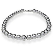Designer Style 10mm Sterling Silver Bead Necklace
