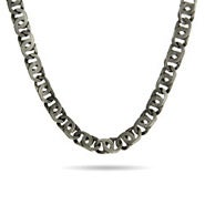 Stainless Steel Marina Link Necklace In Brushed Finish