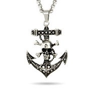 Skull and Crossbones Anchor Necklace