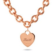 Designer Style Rose Gold Heart Tag Necklace