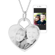 Engravable Sterling Silver Heart Photo Pendant