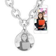 Stainless Steel Round Charm Link Chain Picture Necklace
