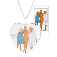 Custom Color Photo Heart Diamond Cut Necklace