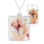Rectangle Sterling Silver Diamond Cut Color Photo Pendant