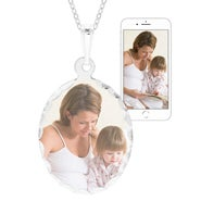Oval Sterling Silver Diamond Cut Color Photo Pendant