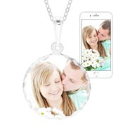 Petite Round Sterling Silver Diamond Cut Color Photo Pendant