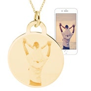 Gold Vermeil Round Tag Photo Pendant