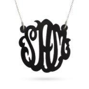 Acrylic Black Monogram Necklace