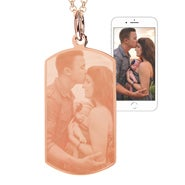 Rose Gold Stainless Steel Dog Tag Photo Pendant