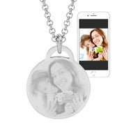 Stainless Steel Round Tag Photo Necklace