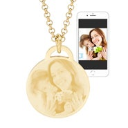 Gold Plated Round Tag Photo Necklace