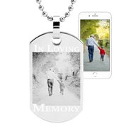 Memorial Photo Dog Tag Stainless Steel Necklace