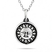 Sun and Moon Double Sided Sterling Silver Pendant