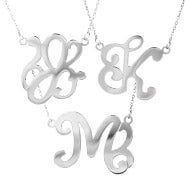 Single Initial Script Style Monogram Necklace