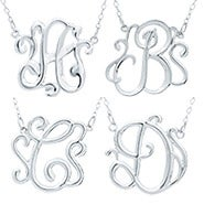 Sterling Silver Monogram Style Initial Pendant