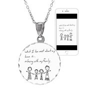 Personalized Handwritten Round Charm Necklace