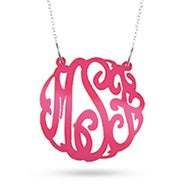 Pink Acrylic Monogram Necklace