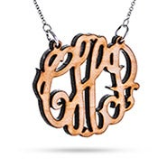 Maple Wood Carved Monogram Necklace