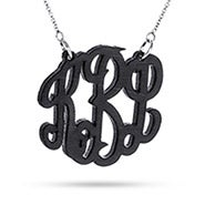 Black Maple Wood Carved Monogram Necklace